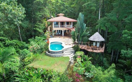 2.86 ACRES – 5 Bedrooms In 2 Homes, Pool, Ocean View, Rainforest, Close To Uvita!!!!